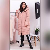 Пальто пуховик - кокон зимний стеганный арт. 180 плащевка Мадонна цвет бежевый / беж