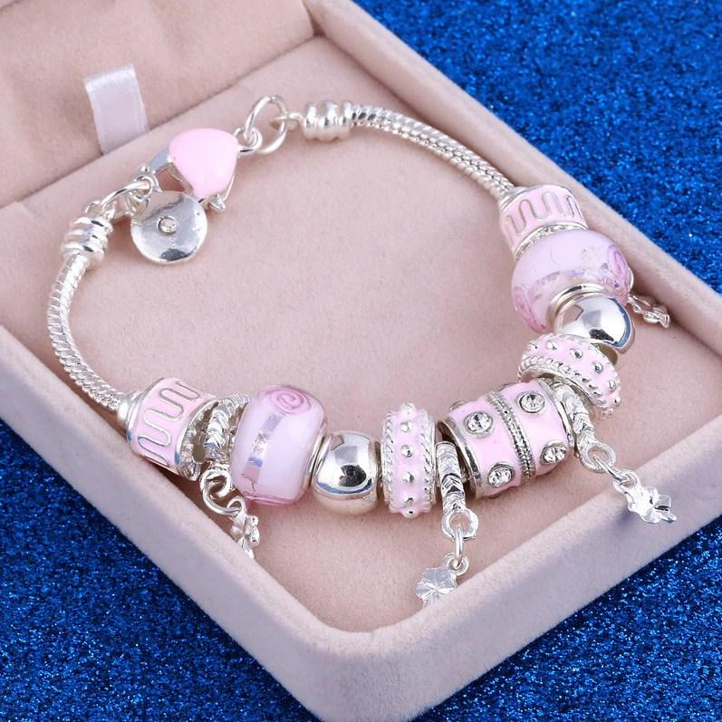 Браслет женский в стиле Пандора розовый
