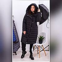 Пальто пуховик - кокон зимний стеганный арт. 180 плащевка Мадонна цвет