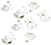 """Акриловые наклейка в ванную, на стены """"зеркальные круглые рыбки 8шт набор"""""""