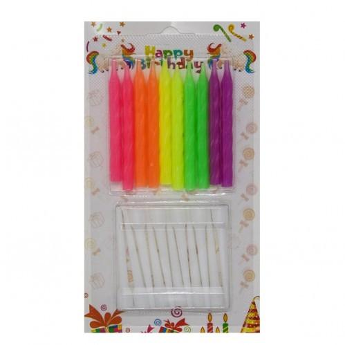 Свечи для торта цветные с подставкой 10 штук неоновые  6  см