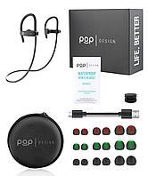 Беспроводные наушники с микрофоном POP Design sport CVC6.0 new IPX7 Black (222277)