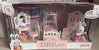 Игровой набор мебель для флоксовых животных Спальня 6616, трюмо, кровать, шкаф, флоксовый зайка