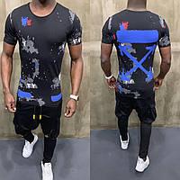 Молодежная мужская футболка Off-White черная с синими стрелами (реплика) - S, M, L