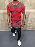 "Летняя мужская стильная футболка с надписью ""Limited"" красная - S, M"