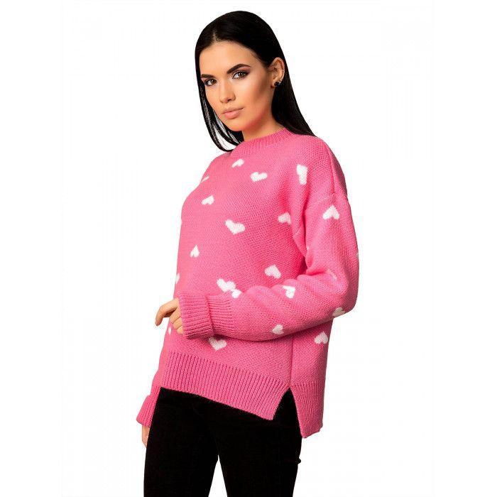 Теплый свитер с милыми сердечками.Разные цвета