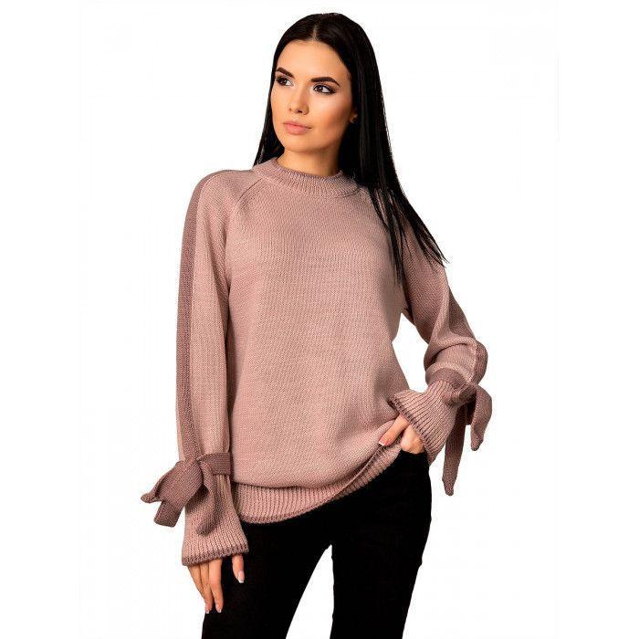 Стильный свитер с бантами на рукавах.Разные цвета