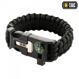 M-Tac браслет-паракорд с искровысекателем, компасом и свистком черный