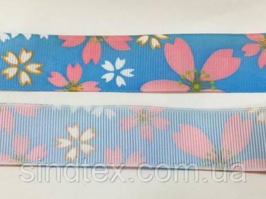 Лента репс с орнаментом 1,5 см. № 750/187 цветочки (UMG-1470)