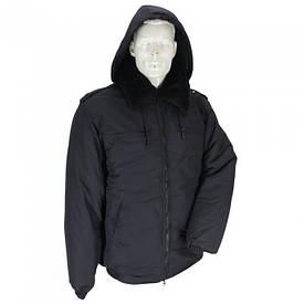 Куртка на меху с капюшоном черная