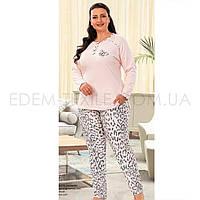 Пижама женская для полных Кофта и Штаны 5565, Розовый, XXXL