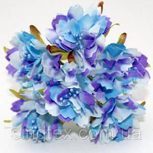 Букетик Хризантема Элит d=3.5-4см  (цена за букет из 6 шт). Цвет - Сиренево-голубой (сп7нг-0459)