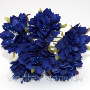 Букетик Хризантема Элит d=3.5-4см  (цена за букет из 6 шт). Цвет - ТЁМНО-СИНИЙ (сп7нг-0460)