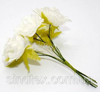 Роза  пышная d=3,5-4см  (цена за букет из 6 шт). Цвет - АЙВОРИ (молочный) (сп7нг-0623)