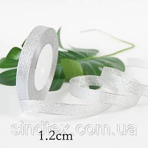 Лента парча 1,2 см  бунт - 23 метра, цвет серебро (сп7нг-0261)