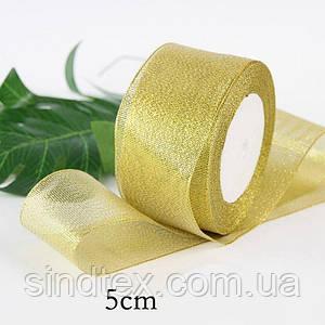 Лента парча 5 см  бунт - 23 метра, цвет золото (сп7нг-0263)