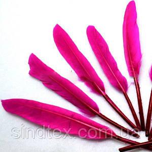 (100шт) Перо декоративное цветное. 14 см. Цена за 100 шт. Цвет - фуксия (сп7нг-0595)