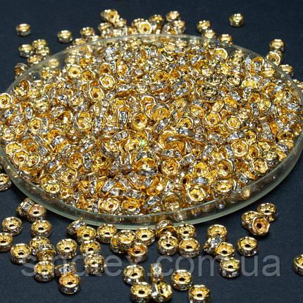 (45-50 штук) Бусины разделители со стразами. D-4мм Цвет золото + стразы прозрачные (сп7нг-1675), фото 2