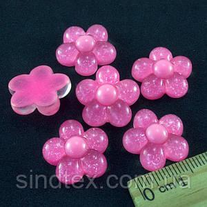 "(10шт) Серединки, кабошоны ""Цветочек"" d=18мм Цена указана за 10шт Цвет - розовый насыщенный (сп7нг-1339)"