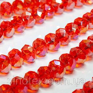 Бусины хрустальные (Рондель) 8х6мм  пачка - примерно 70 шт, цвет - красно-оранжевый прозрачный с АБ (сп7нг-1033)