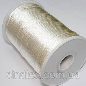 Шнур корсетный (сатиновый, шелковый) 2мм цена за 100 ярдов. Цвет - АЙВОРИ (сп7нг-1737)