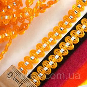 """(25 метров) Тесьма """"Стежок"""" (8мм ширина) с фольгированной лентой Цвет - Оранжевый (сп7нг-0437)"""