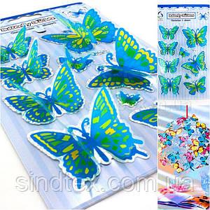 Бабочки объёмные,наклейки на планшетке (размер планшетки 19,5х12см) Цвета - на фото (сп7нг-0743)