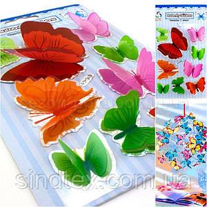 Бабочки объёмные,наклейки на планшетке (размер планшетки 19,5х12см) Цвета - на фото (сп7нг-0744)