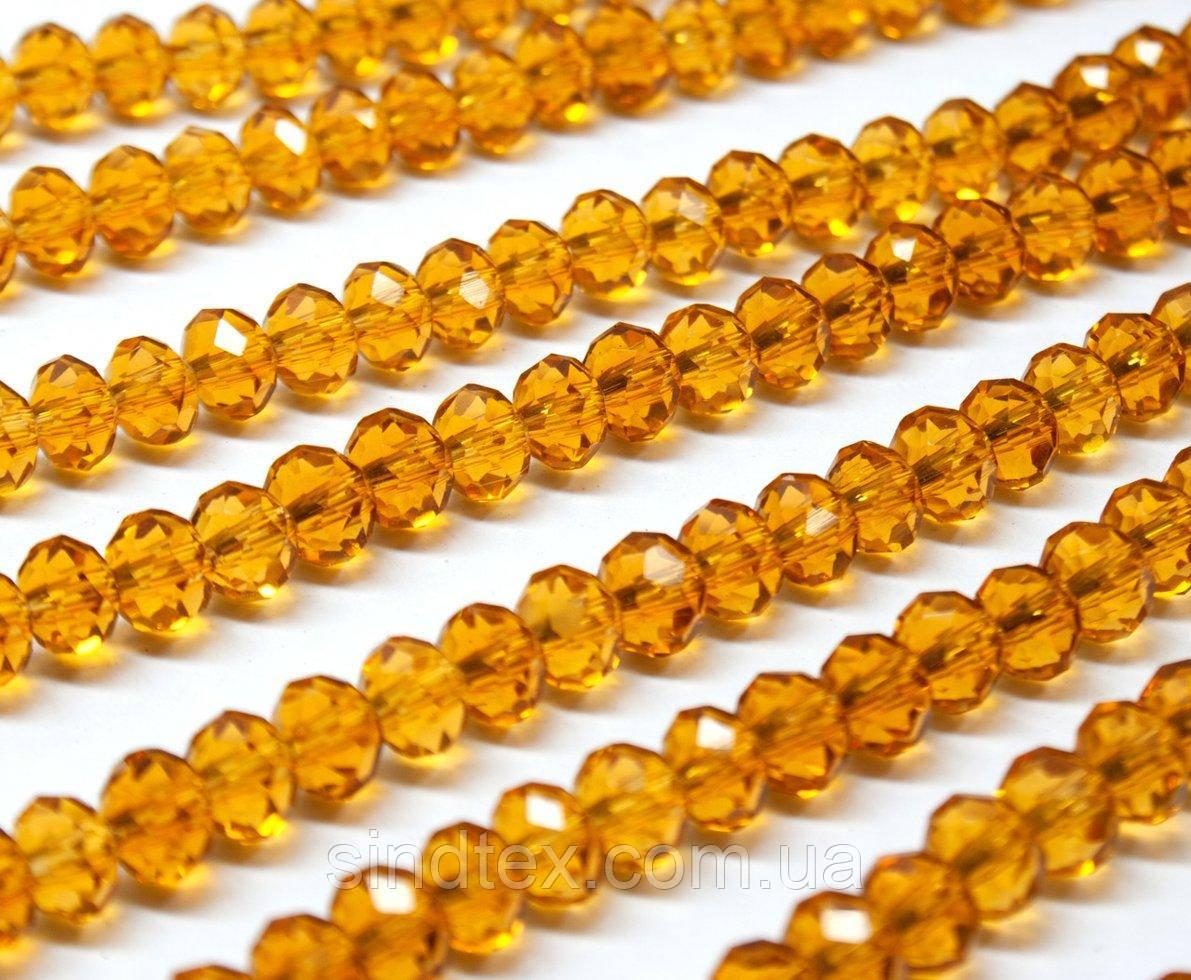 Бусины хрустальные (Рондель)  6х4мм пачка - 95-105 шт, цвет - янтарный прозрачный глянец (сп7нг-0991)