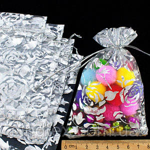 (10шт) Мешочки из органзы с рисунком (12х8см) Цена за 10 шт Цвет - серебро (сп7нг-0266)