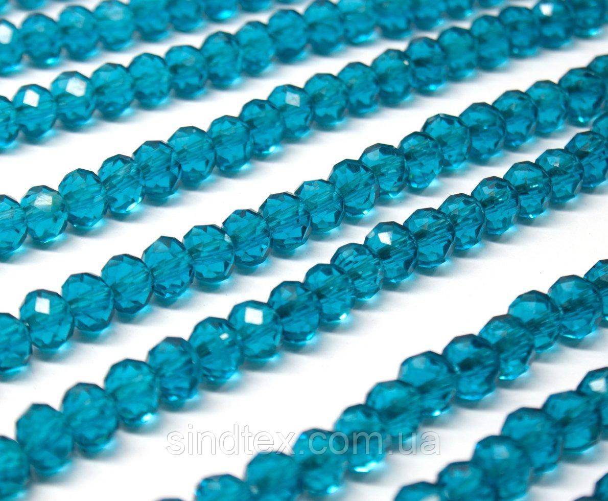 Бусины хрустальные (Рондель)  6х4мм пачка - 95-105 шт, цвет - морская волна прозрачный (сп7нг-0981)