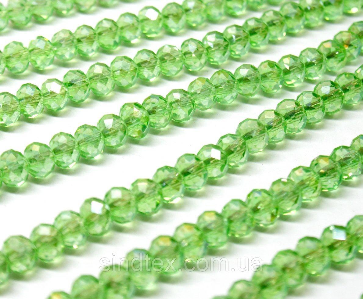 Бусины хрустальные (Рондель)  6х4мм пачка - 95-105 шт, цвет - светло зеленый прозрачный с АБ (сп7нг-0974)