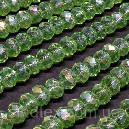 Бусины хрустальные (Рондель)  6х4мм пачка - 95-105 шт, цвет - светло зеленый прозрачный с АБ (сп7нг-0974), фото 2