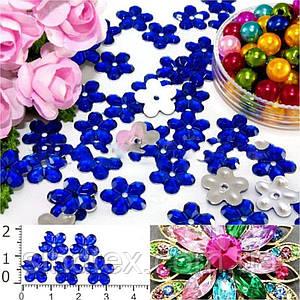 """( 100шт) Серединки стразы  """"цветочек средний"""", d=10мм Цвет - Синий (сп7нг-1246)"""