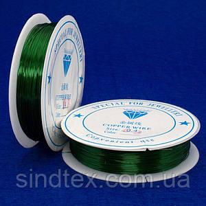Проволока 0,3мм Намотка 50 ярдов (46 метров), цвет - зеленый (сп7нг-1690)