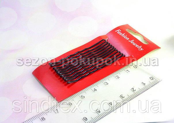 (10 шт) Заколки-невидимки волнистые, (5см длина) на планшетке. Цвет - черный (сп7нг-0030), фото 2