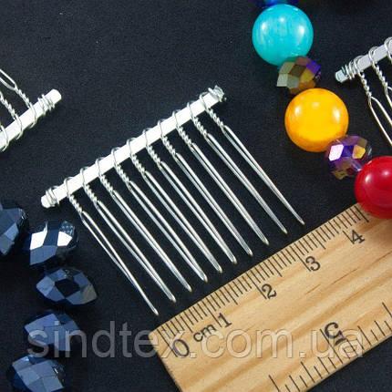 (10шт) Гребінь - основа 4 х 3,5 см, металевий гребінь для волосся (10 зубчиків) Ціна за 10 шт. (сп7нг-1195), фото 2