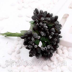 """Тычинки """"Незабудка"""" на проволоке с листиками"""" (Цена за букетик) Цвет - Чёрный (сп7нг-1078)"""