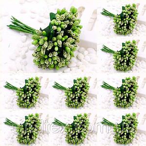 """(ОПТ,12 букетиков) Тычинки """"Незабудка"""" на проволоке с листиками (Цена за пачку) Цвет - Салатовый (сп7нг-1782)"""