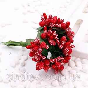 """Тычинки """"Незабудка"""" на проволоке с листиками"""" (Цена за букетик) Цвет - Красный (сп7нг-2460)"""