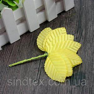 (10шт) Листочки на проволоке (цена за 10 листочков) Цвет - Жёлтый (сп7нг-1281)