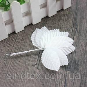 (10шт) Листочки на проволоке (цена за 10 листочков) Цвет - Белый (сп7нг-1288)