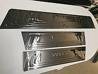 Накладки на внутренние пороги Черный Хром (3 шт, нерж) Mercedes Vito / V W447 2014↗ гг.