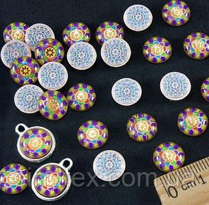 """(≈ 50шт) Объёмные круглые кабошоны, серединки Ø 10 мм """"Мозаика"""" (Цена за упаковку) Цвет - на фото (сп7нг-1448)"""