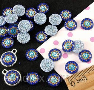 """(≈ 50шт) Объёмные круглые кабошоны, серединки Ø 10 мм """"Мозаика"""" (Цена за упаковку) Цвет - на фото (сп7нг-1447)"""