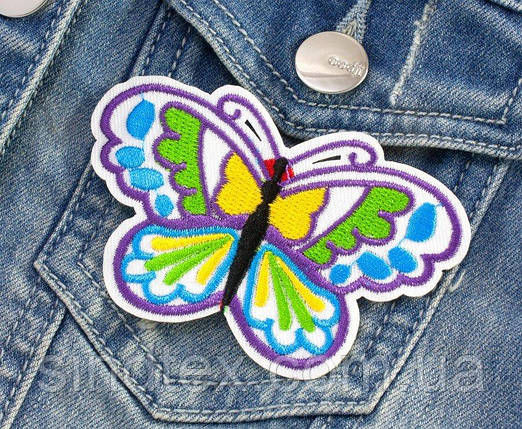 "(5шт) Термоаппликация, нашивка на одежду 9 х 5,5 см ""Бабочка"" Цена за 5шт (сп7нг-2649), фото 2"