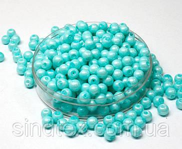 Жемчуг стеклянный  Ø6мм пачка - примерно 100 шт, цвет -  бирюзовый жемчужный (сп7нг-1371)
