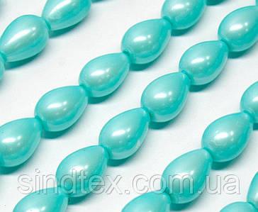 Жемчуг стеклянный  капля 11х8мм   пачка - примерно 50 шт, цвет - бирюзовый жемчужный (сп7нг-1387)