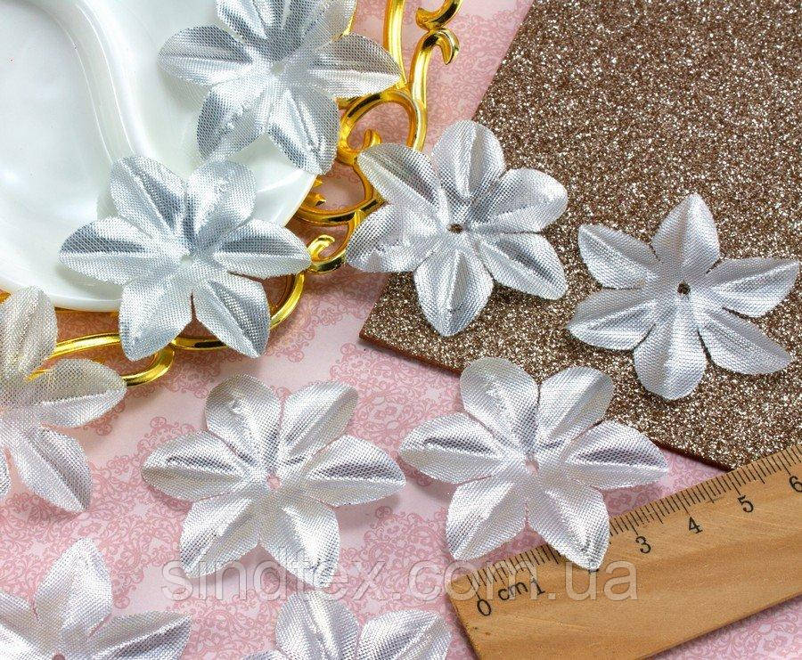 (10 ГРАММ 130 шт) Заготовка для цветка, пресс Ø48мм (Люрекс) Цвет - Серебро (сп7нг-1831)