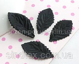 (10 ГРАММ 260 шт) Листочки искусственные, пресс 34х18мм Цвет - Чёрный (сп7нг-2105), фото 2
